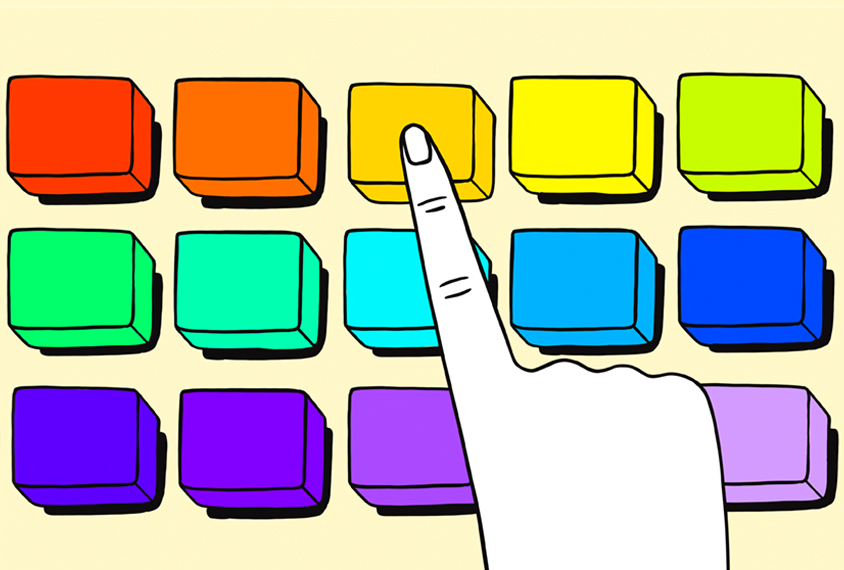 Illustration of hand pressing one orange button on a keyboard with keys of various colors.