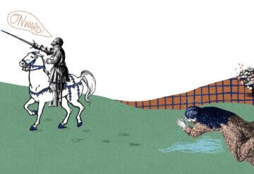 骑士珀西瓦尔离开了极度悲痛的母亲,全然不顾自己的影响,骑马走向远方。