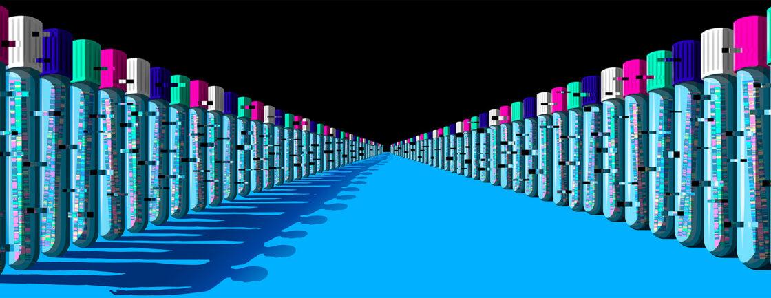 插图显示了两长排装着基因信息的小瓶,它们投下的阴影是人类的形状。