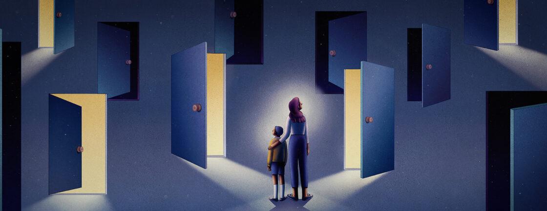 插图描绘了母亲和孩子面对一片田野的门:一些是黑暗的,一些是光明的