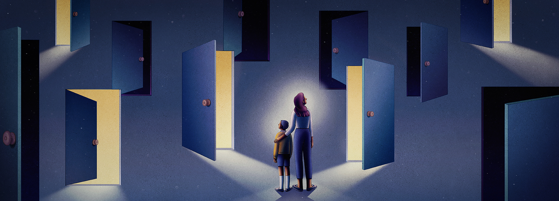 Illustration depicts mother and child facing a field of doors: some are dark and some are light