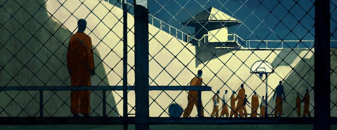 插图显示了一个孤立的人独自在监狱的院子里,看着其他囚犯锻炼和社交。