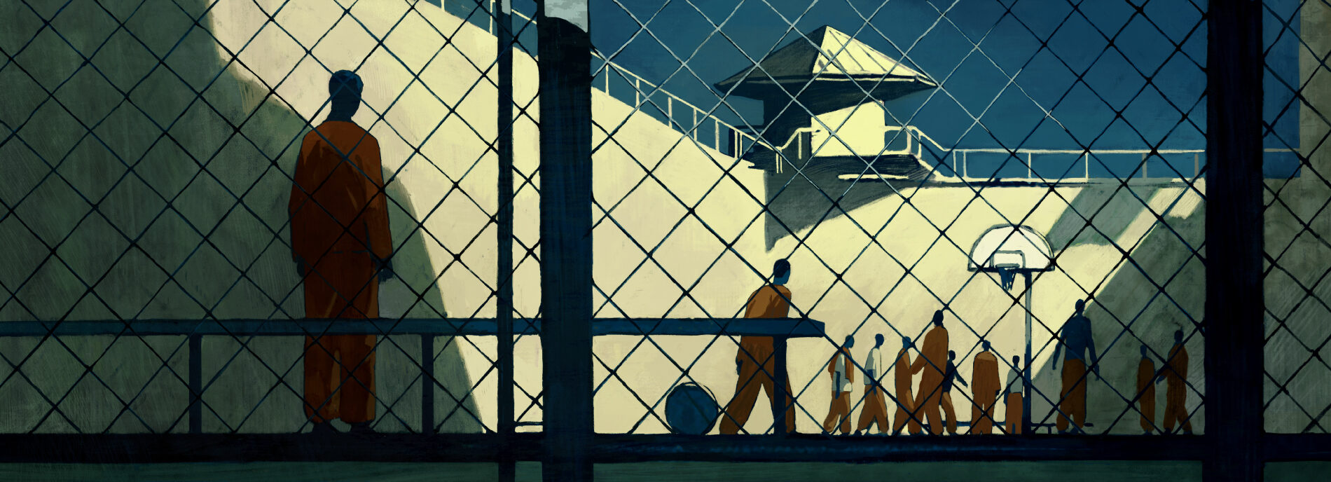 illustration shows isolated figure alone in the prison yard, watching other inmates exercise and socialize.