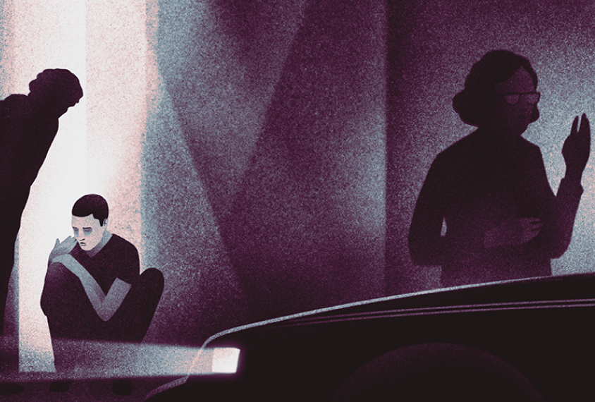 插图显示的是一个人坐在路边和自闭症男孩交谈,而父母或其他社区成员则在和警察交谈。