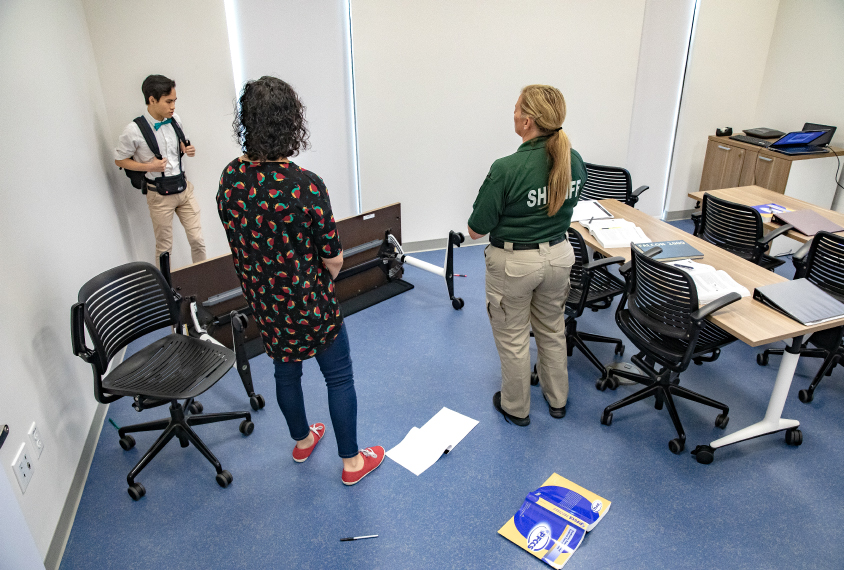 Some autism training classes for police use trained actors to recreate real-life scenario--in this scene a student is having a tantrum in a classroom.