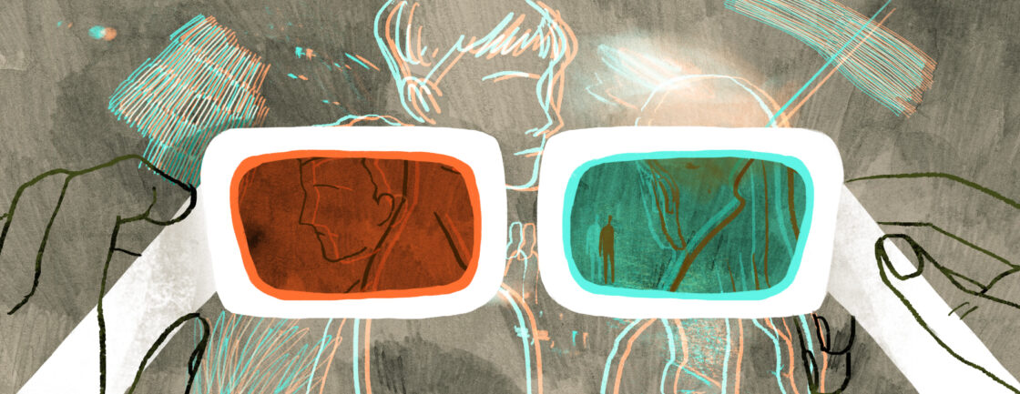 3D glasses viewing a group fo people.
