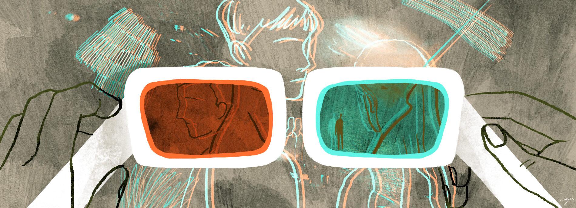 3d观看小组的眼镜。