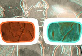 3D眼镜观看一群人。