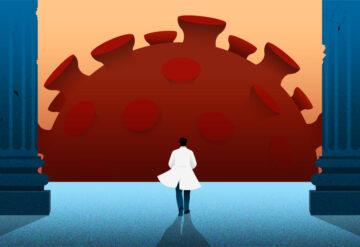 研究人员面对冠状病毒。