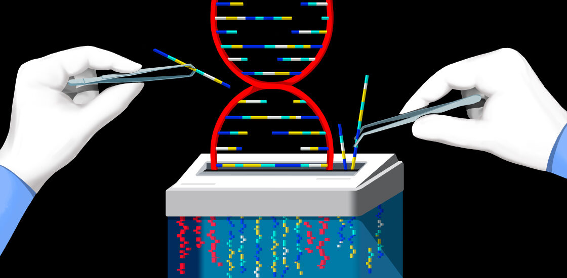Illustration shows the hands of researchers selecting parts of a DNA helix for secure shredding.