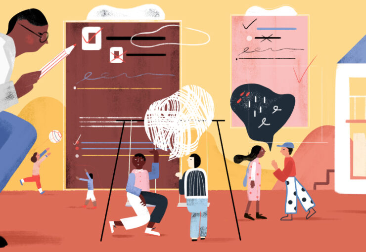 Illustration shows scientist is observing social behavior in a large group of children
