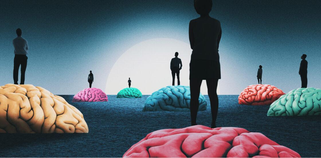 与人们站在他们身上的人的大脑,从阴影中出来