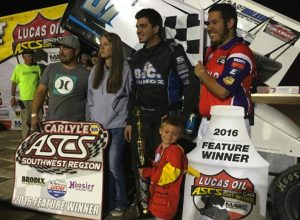 Aaron Reutzel in victory lane Saturday night at Cocopah Speedway. (ASCS / Randy Hoeft Photo)