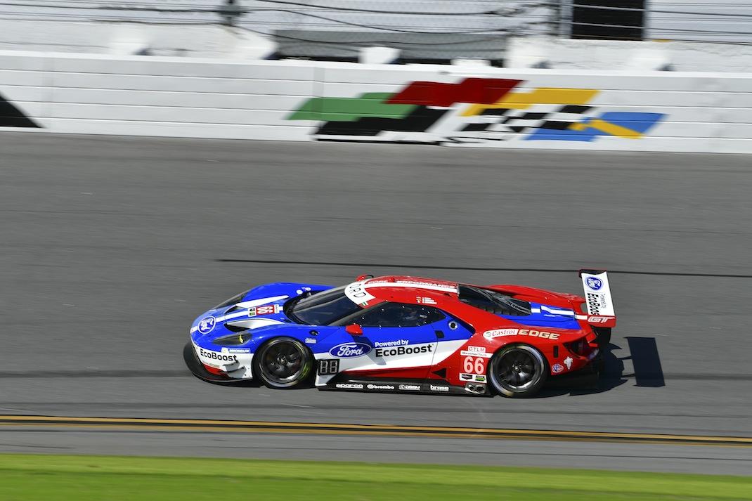 Joey Hand in action Wednesday at Daytona Int'l Speedway. (IMSA photo)