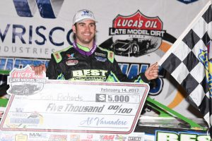 Josh Richards in victory lane Tuesday at East Bay Raceway Park. (Al Steinberg photo)