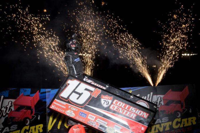 Sam Hafertepe Jr. in victory lane at Texas Motor Speedway Dirt Track. (Vince Vellella photo)