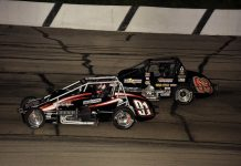 Justin Grant (91) tries to hold off Kody Swanson during the USAC Silver Crown Series event last year at Madison Int'l Speedway. (Mark Funderburk Photo)