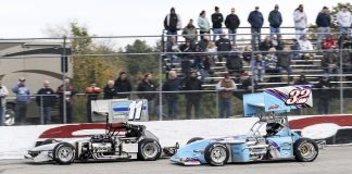 Kyle Edwards (11e) battles Ben Seitz during Sunday's ISMA Supermodified Series finale at Thompson Speedway Motorsports Park. (Dick Ayers photo)