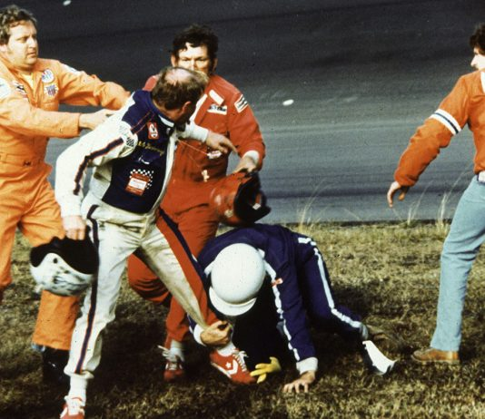 Track emergency workers try to break up a fight between Cale Yarborough, Donnie Allison and Bobby Allison after Yarborough and Donnie Allison crashed on the final lap while battling for the lead during the 1979 Daytona 500. (NASCAR photo)