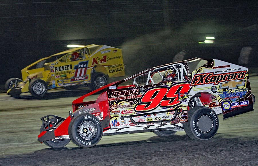 Larry Wight (99) will bring his big-block modified and sprint car to Weedsport Speedway this Sunday evening. (Jim Denhamer Photo)