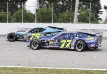 Chris Pasteryak (75) battles Gary Putnam during NASCAR Whelen Modified Tour action at Myrtle Beach Speedway. (Dick Ayers Photo)