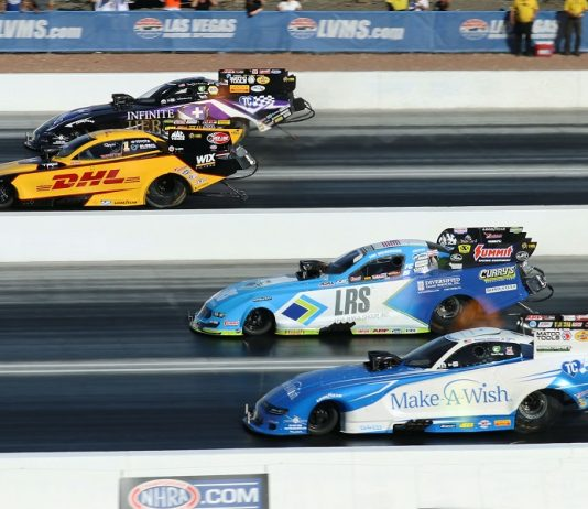J.R. Todd (second from top) beat Tommy Johnson Jr., Tim Wilkerson and Jack Beckman to win the Funny Car final during Sunday's DENSO Spark Plugs 4-Wide Nationals at The Strip at Las Vegas Motor Speedway. (Barry Ambrose photo)