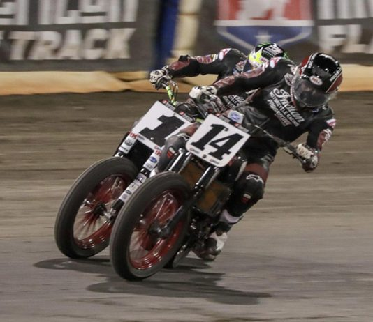 Briar Bauman (14) leads the American Flat Track tour into the So-Cal Half-Mile this weekend. (AFT Photo)
