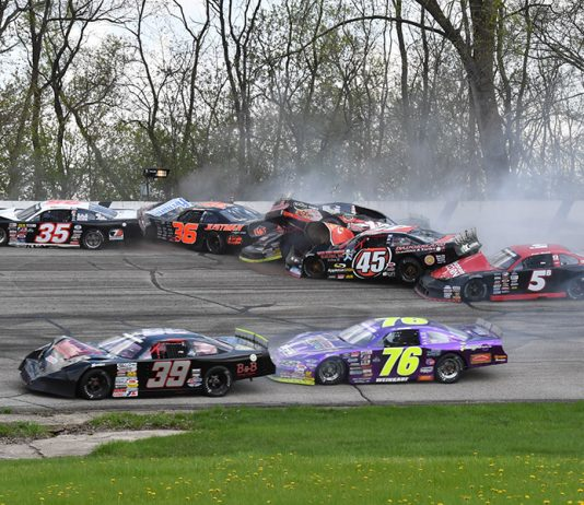 Ty Majeski broke an axle and started a multi-car pileup that collected at least six other cars during the Joe Shear Classic Sunday at Madison Int'l Speedway. (Doug Hornickel Photo)