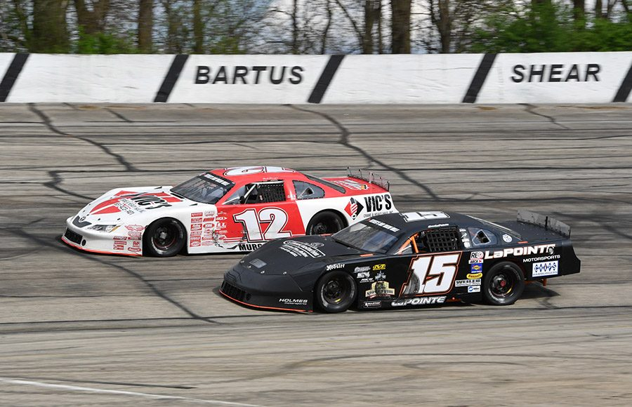 Nick Murgic (12) battles around the outside of Dean LaPointe during Sunday's ARCA Midwest Tour Joe Shear Classic at Madison Int'l Speedway. (Doug Hornickel Photo)