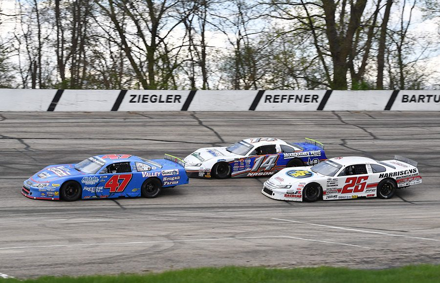 Casey Johnson (47) races ahead of Austin Nason (14) and Bubba Pollard during Sunday's ARCA Midwest Tour Joe Shear Classic at Madison Int'l Speedway. (Doug Hornickel Photo)
