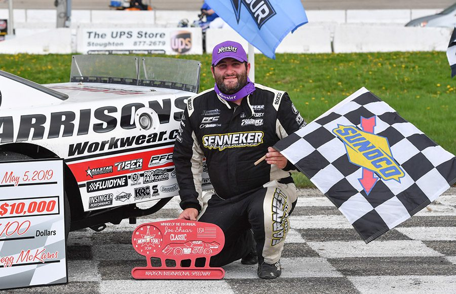 Bubba Pollard poses in victory lane after winning Sunday's Joe Shear Classic at Madison Int'l Speedway. (Doug Hornickel Photo)