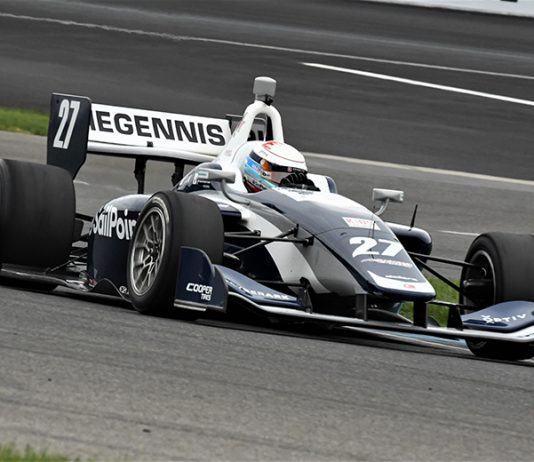 Robert Megennis on his way to victory in Friday's Indy Lights event at Indianapolis Motor Speedway. (Al Steinberg Photo)