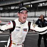 Braden Eves celebrates after winning Friday's USF2000 event at Indianapolis Motor Speedway. (Al Steinberg Photo)