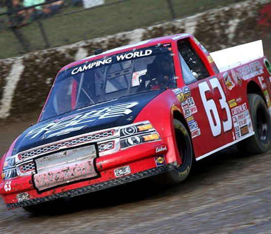 Bobby Pierce driving Mike Mittler's No. 63 truck at Eldora Speedway in 2016. (NASCAR Photo)