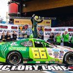 Lasse Sorensen celebrates his first NASCAR Whelen Euro Series ELITE 2 triumph. (NASCAR Photo)