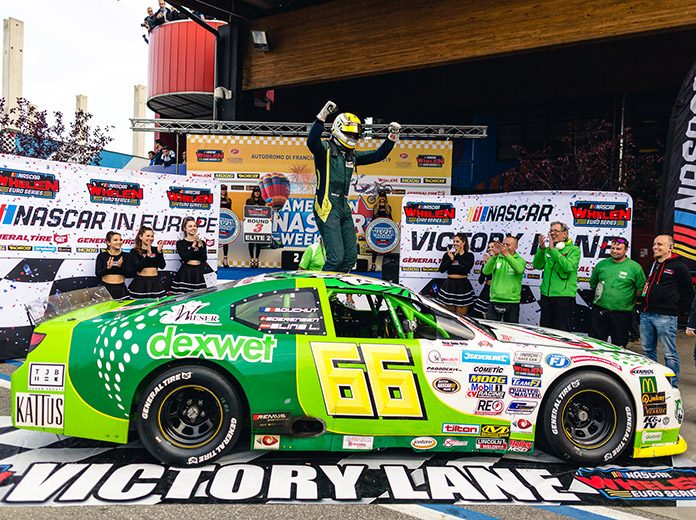 Lasse Sorensen celebrates his first NASCAR Whelen Euro Series ELITE 2 triumph. (NASCAR Photo)