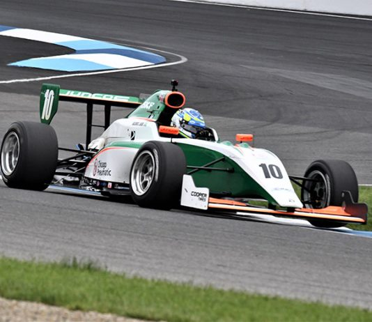 Rasmus Lindh on his way to victory Saturday at Indianapolis Motor Speedway. (Al Steinberg Photo)