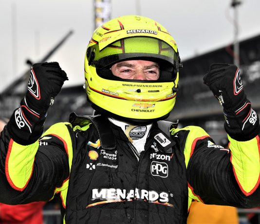 Simon Pagenaud in victory lane after winning the IndyCar Grand Prix. (Al Steinberg Photo)