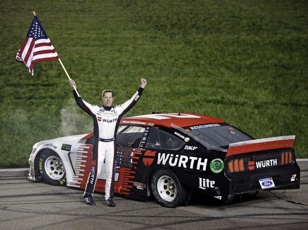 Brad Keselowski won Saturday's Digital Ally 400 at Kansas Speedway. (HHP/Alan Marler Photo)