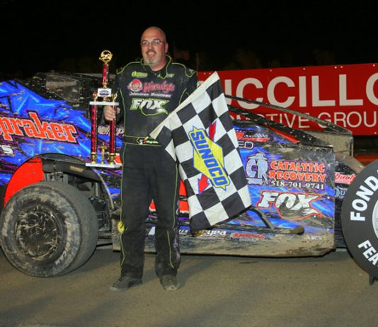 Rocky Warner in victory lane Saturday at Fonda Speedway. (Dave Dalesandro Photo)
