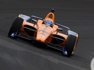 Fernando Alonso on track recently during Indianapolis 500 testing at Indianapolis Motor Speedway. (IndyCar Photo)