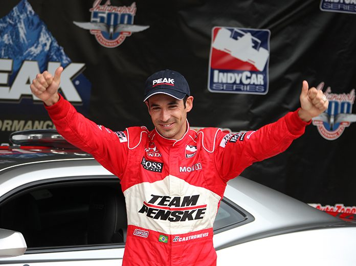Helio Castroneves celebrates after winning the pole for the 2009 Indianapolis 500. (IMS Archives Photo)