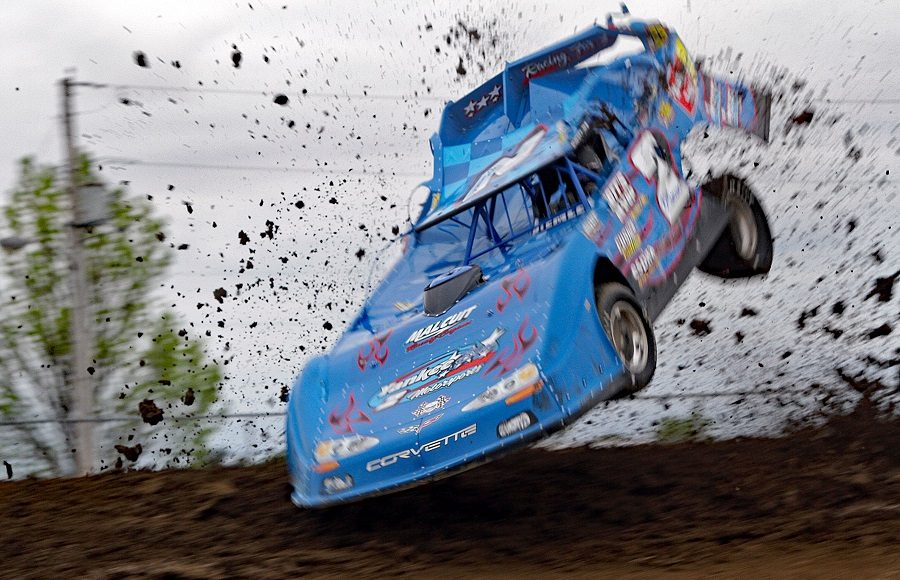 Travis Stemler went for a wild ride during Friday's American Ethanol Late Model Tour event at Attica Raceway Park. (Jim Denhamer Photo)