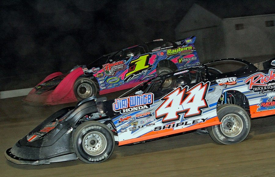 Matt Shipley (44) battles Rusty Schlenk during Friday's American Ethanol Late Model Tour event at Attica Raceway Park. (Jim Denhamer Photo)