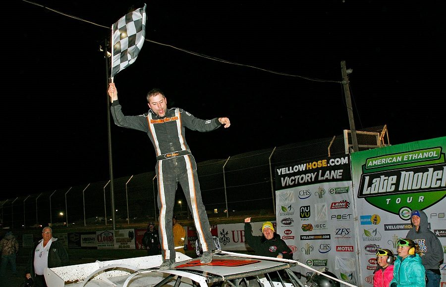 Ryan Missler celebrates after winning Friday's American Ethanol Late Model Tour event at Attica Raceway Park. (Jim Denhamer Photo)