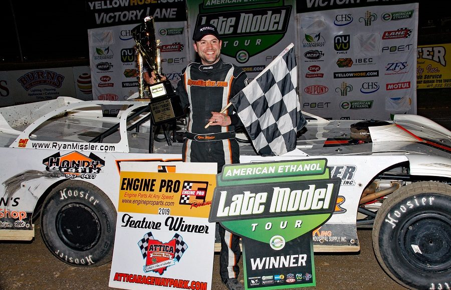 Ryan Missler poses in victory lane after winning Friday's American Ethanol Late Model Tour event at Attica Raceway Park. (Jim Denhamer Photo)