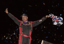Lance Dewease won Wednesday night's NOS Energy World of Outlaws Sprint Car Series feature at Lincoln Speedway. (Dan Demarco photo)