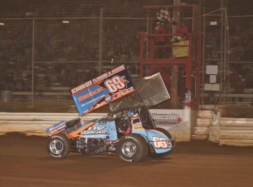 Lance Dewease takes the checkered flag at Lincoln Speedway. (Dan Demarco photo)