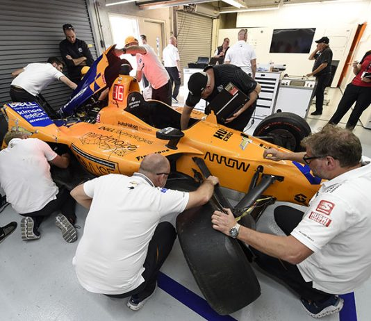 Fernando Alonso and McLaren failed to make it on track Thursday at Indianapolis Motor Speedway. (IndyCar Photo)