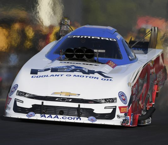 John Force was fastest in Funny Car qualifying Friday at Virginia Motorsports Park. (NHRA Photo)